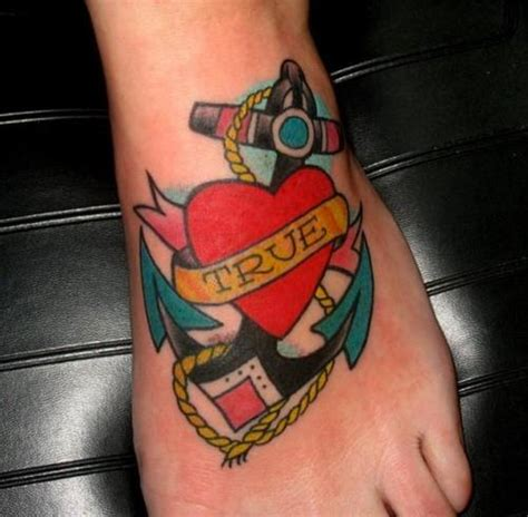 true at heart tattoo true anchor on foot tattooshunt