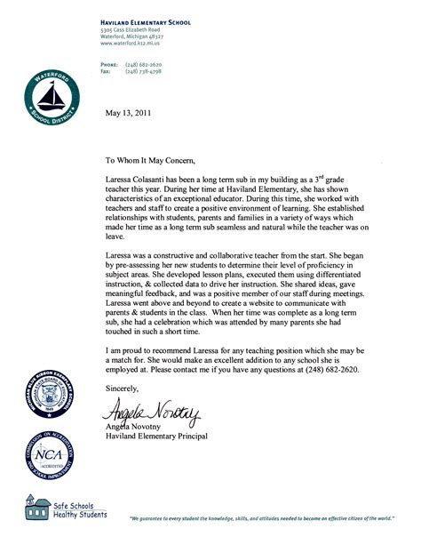 Recommendation Letter For Elementary Letter Of Recommendation For Principal Free Resumes Tips
