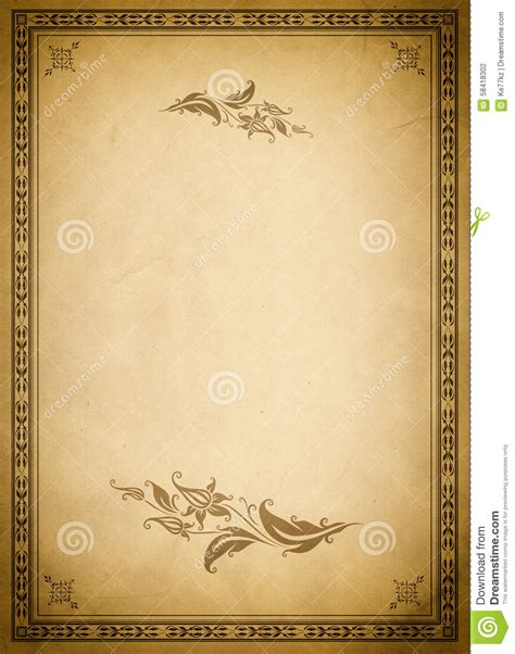 fashioned writing paper template paper backdrop and fashioned border stock photo
