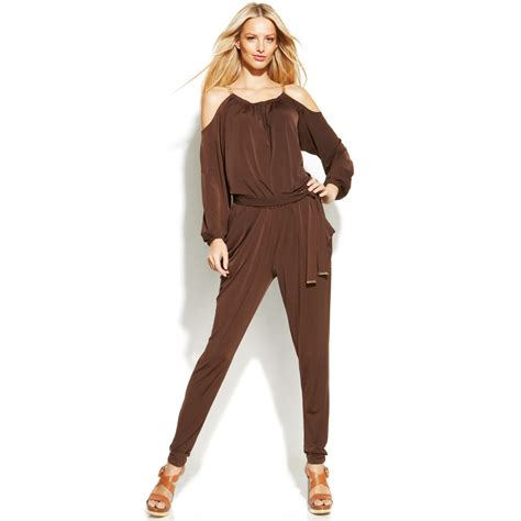 Brown Jumpsuit by Lyst Michael Kors Michael Coldshoulder Chainstrap