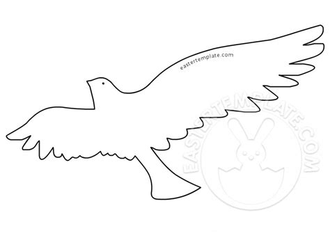 white dove flying outline easter template