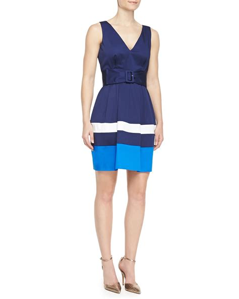 Jual Kate Spade Mini Navy Blue 1 kate spade sawyer sleeveless belted colorblock dress navyturquoisewhite in blue