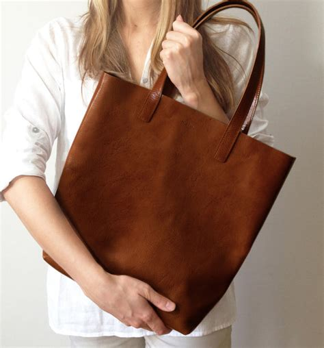 Handbag Pria Prada Brown Premium Quality brown leather shopper tote made from best quality lasting