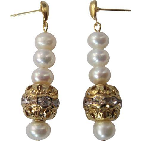 dainty white lotus cultured pearl and swarovski