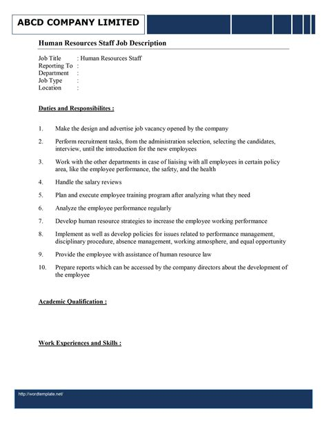 Cover Letter Resume And Job Description For Human Resources Staff Human Resources Templates Word