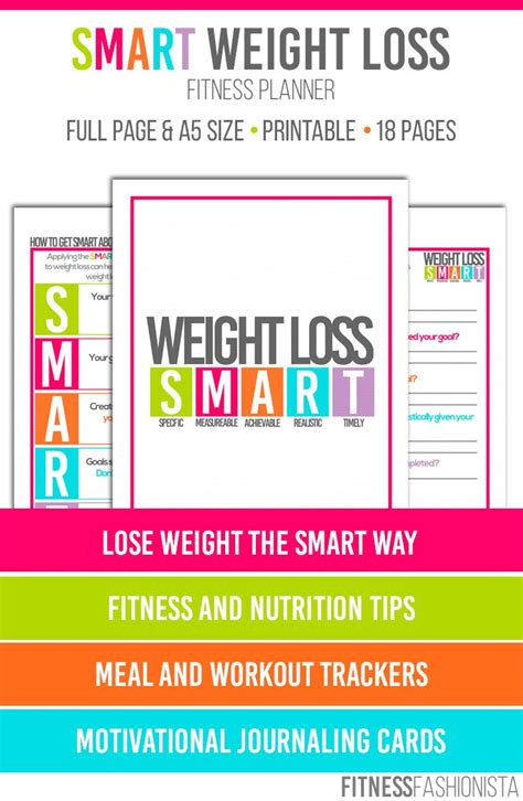 weight loss smart printable fitness planner 17 best images about weight loss tools on pinterest