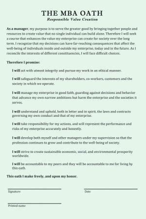 Harvard Mba Oath Text neuer trend angehende manager leisten eid zum gemeinwohl
