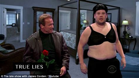 True Lies Bedroom corden and arnold schwarzenegger perform