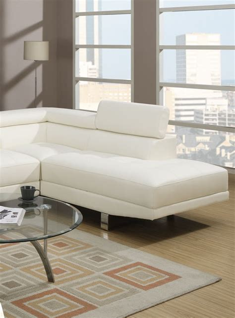 Poundex Sectional Sofa Set White Leather F7320