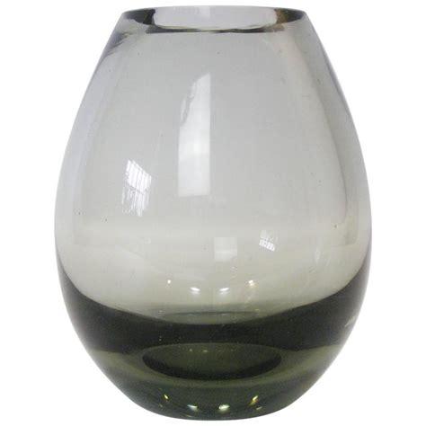Smoked Glass Vase per lutken for holmegaard low profile teardrop smoked