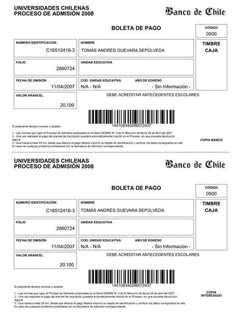 imprimir cupon de pago youtube inscripci 243 n psu especiales emol 2007