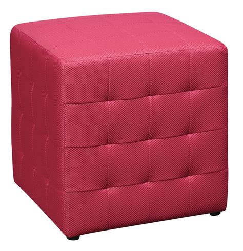Pink Square Mesh Fabric Cube Ottoman Footstool Side Pink Ottoman