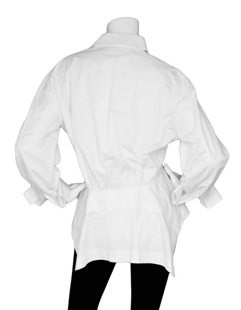 Alaia White Peplum Blouse Sz FR44 For Sale at 1stdibs