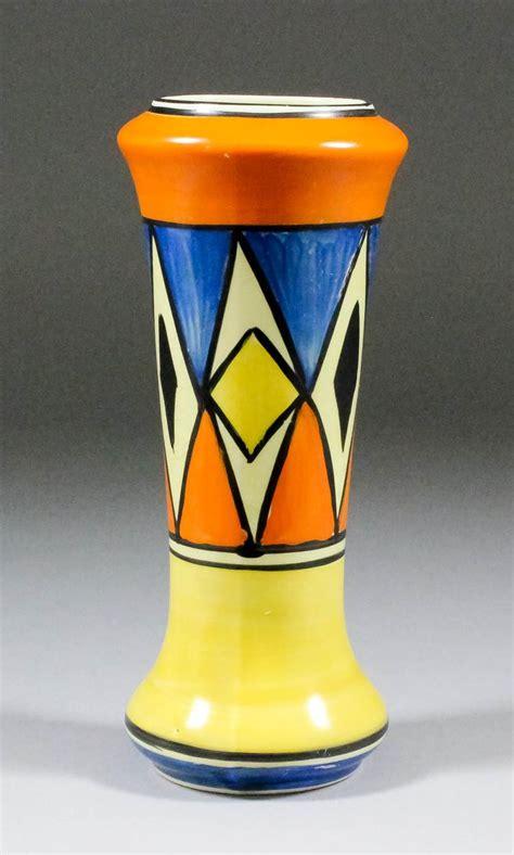 a clarice cliff quot quot pottery vase shape no 187 paint