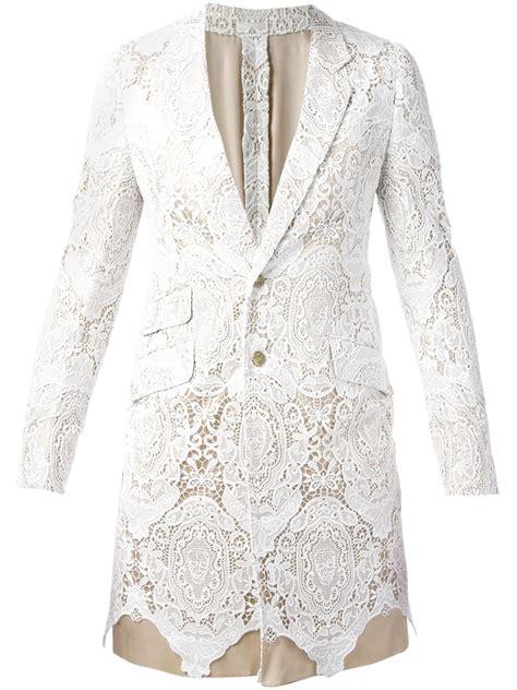Lace Blazer lyst mcqueen lace blazer in white for