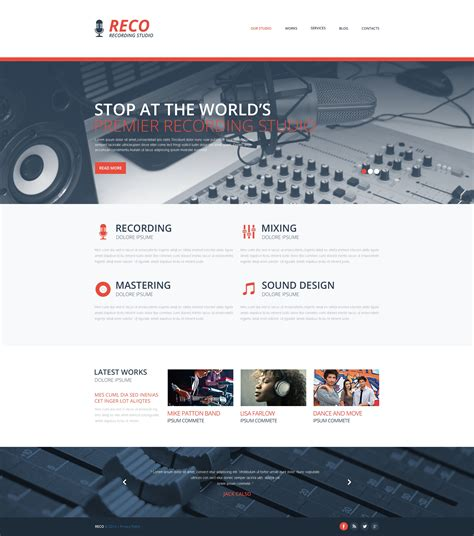 Recording Studio Responsive Website Template 48733 Studio Website Template