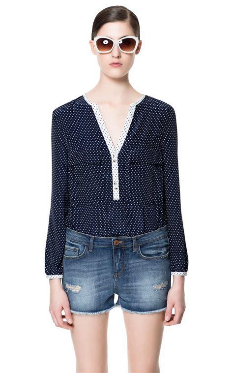 Zara Blouse Songket Navy zara polka dot printed blouse in blue navy lyst