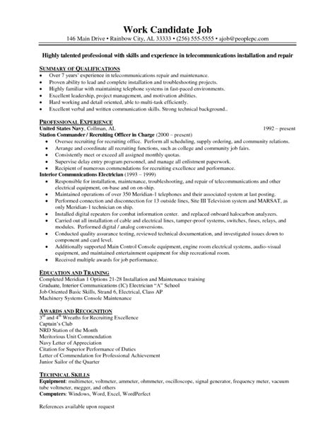 Sle Resume For Residential Electrician sle resume electrician 28 images cover letter sle