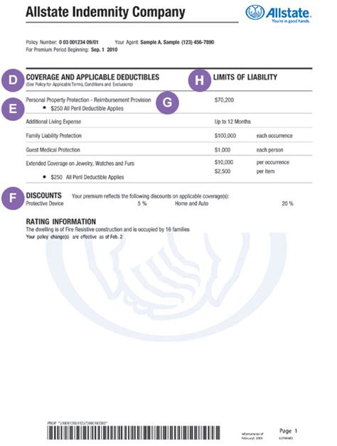 Policy Declarations Renters Insurance Declaration Page Template