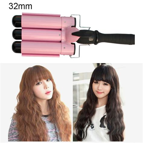 ceramic waver hair curler 3 big wave barrels lcd hair styling 3 barrels big wave waver ceramic curler