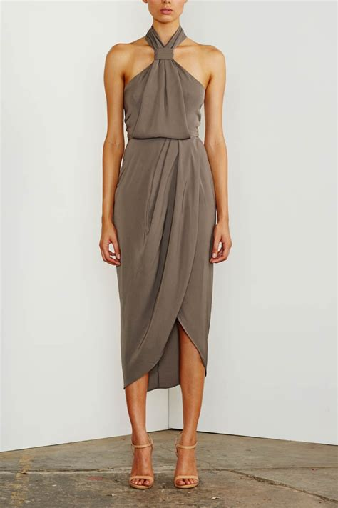 draped gowns shona joy knot draped dress olive fox maiden