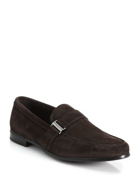 prada loafers prada side buckle suede loafers in brown for lyst