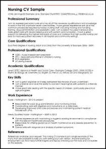 Curriculum Vitae For Nurses by Nursing Cv Sample Myperfectcv