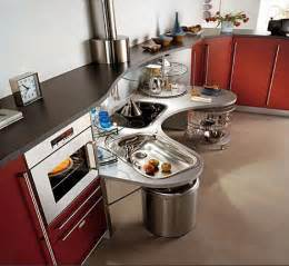 The circular shelves provide lazy susan like storage allowing