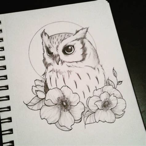 owl tattoo drawing doodle dessin owl hibou chouette bird flowers