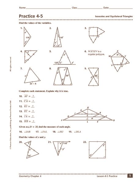 Isosceles And Equilateral Triangles Worksheet by Worksheets Isosceles Triangle Theorem Worksheet