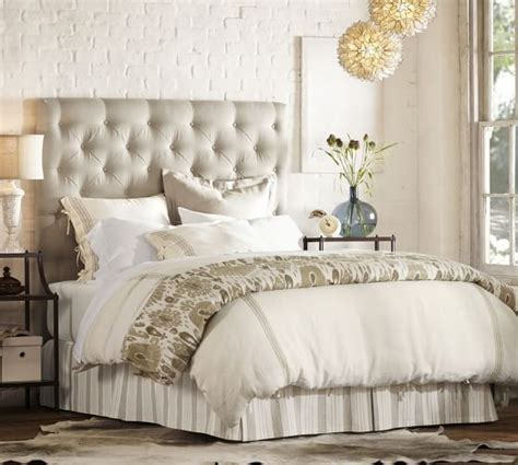 lorraine tufted upholstered tall bed headboard pottery