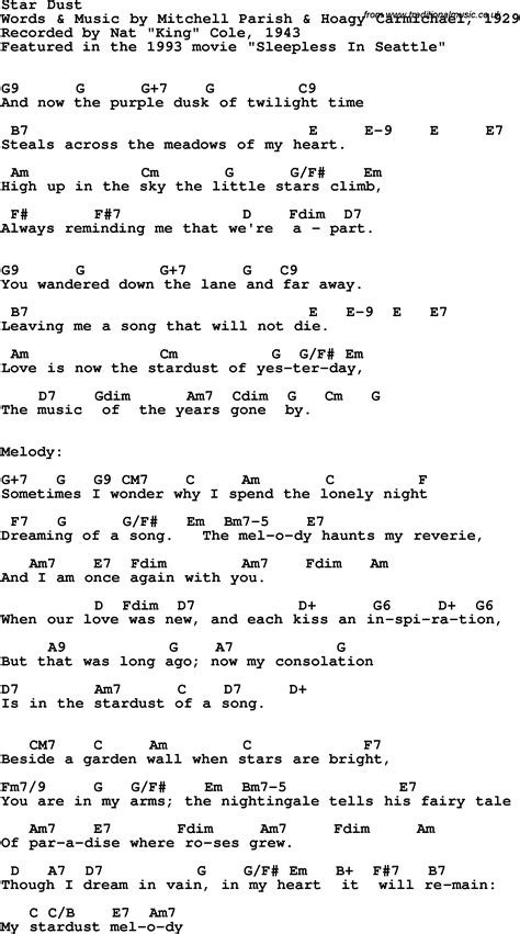stardust testo song lyrics with guitar chords for dust nat king