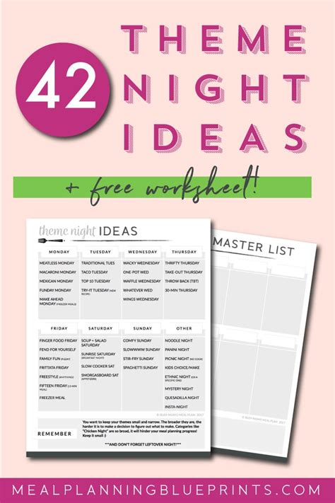 theme nights list 848 best meal planning images on pinterest organization
