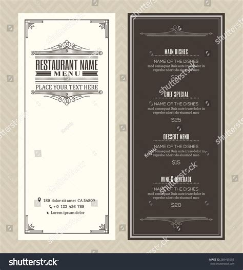 restaurant cafe menu vector design template stock vector