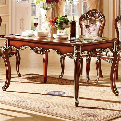 Antique Style Dining Table And Chairs Antique Style Italian Dining Table 100 Solid Wood Italy Style Luxury Dining Table Set 10298 In