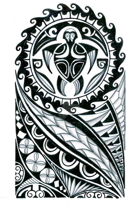 polynesian half sleeve tattoo design by thehoundofulster