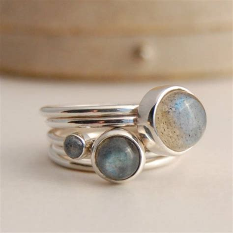 sterling silver stacking rings with labradorite by