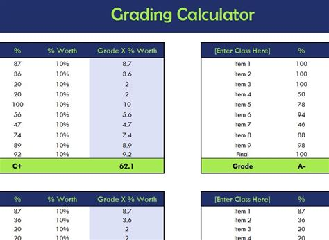 College Letter Grade Calculator School Grading Calculator My Excel Templates