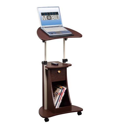 standing desk with storage chocolate sit to stand rolling adjustable laptop cart with