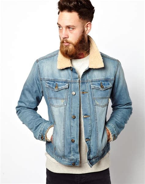 light wash denim jacket with fur collar lyst asos shearling collar denim jacket in blue for