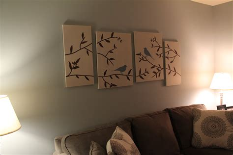 easy room painting ideas diy wall art birds branches canvas see debt run see