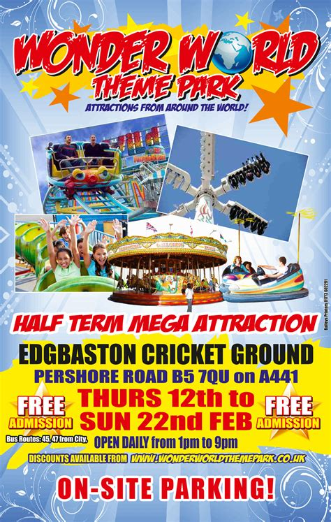 theme park advertisement wonder world theme park marketing at edgbaston cricket