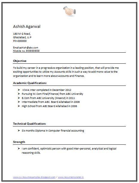 Cv Format For Experienced Person | Example Good Resume Template