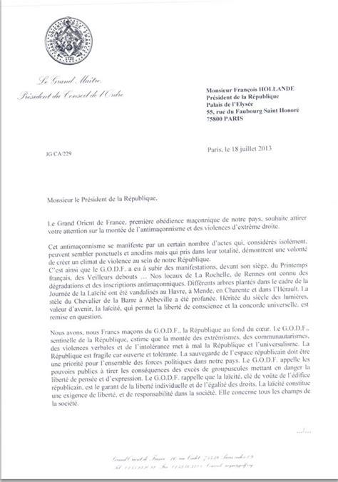 Exemple Lettre Demission Franc Maconnerie Dans Une Lettre Officielle Les Francs Ma 231 Ons Appellent