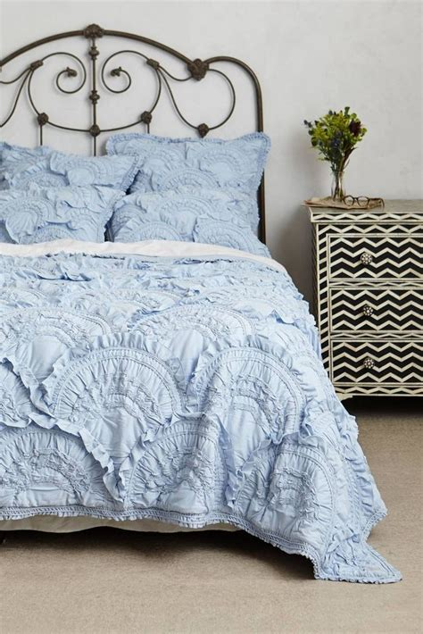 anthropologie coverlet anthropologie rivulets queen quilt sky blue jersey cotton