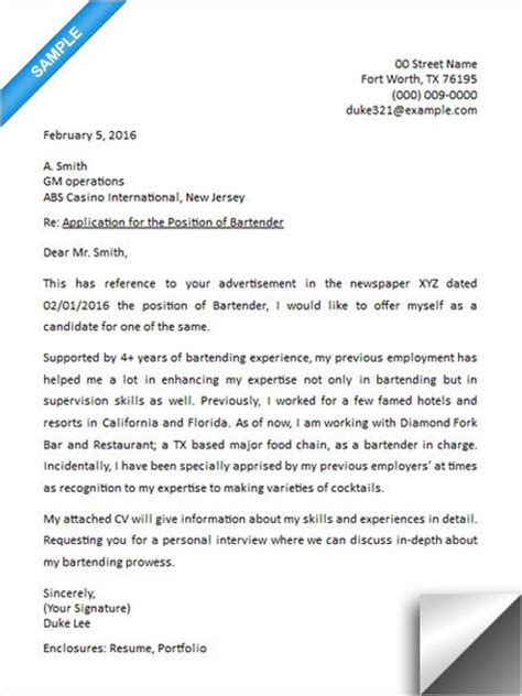 cover letter for a bartender 157 best images about resume exles on entry