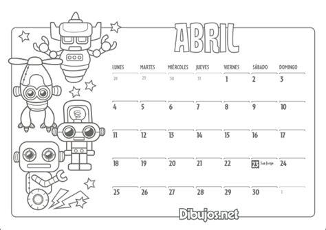 Calendario Y Sus Dibujos Im 225 Genes De Calendarios Infantiles De Abril 2016 Para