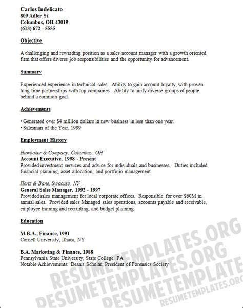 general resume template experienced general manager sales resume template