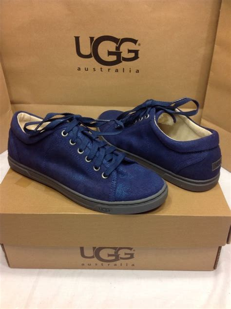 womens ugg sneakers ugg australia tomi blue metallic suede sneakers tennis