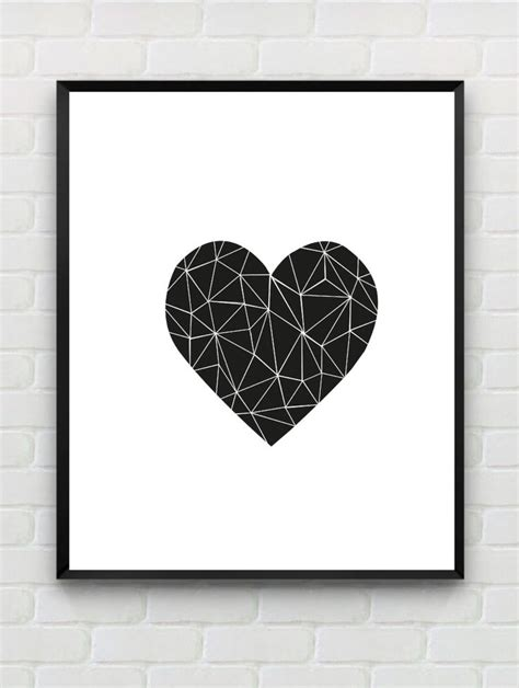 printable posters black and white printable art heart print love print polygon wall art